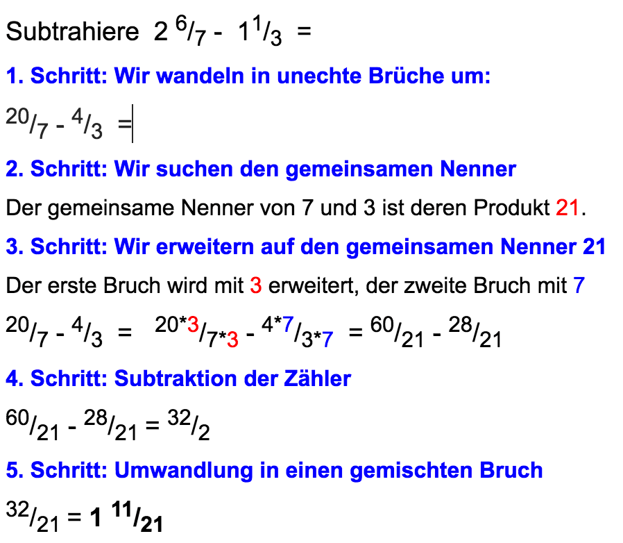 Subtraktion ungleichnamiger Brüche - www.mein-lernen.at